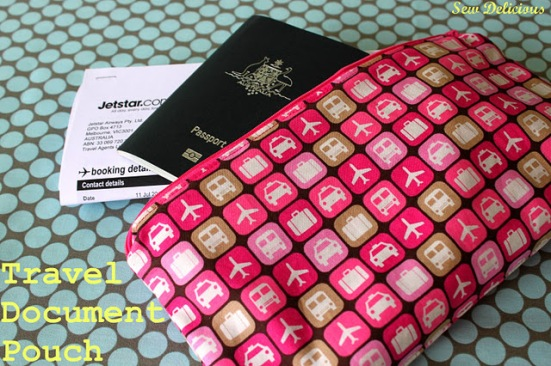 travel document pouch by Sew Delicious