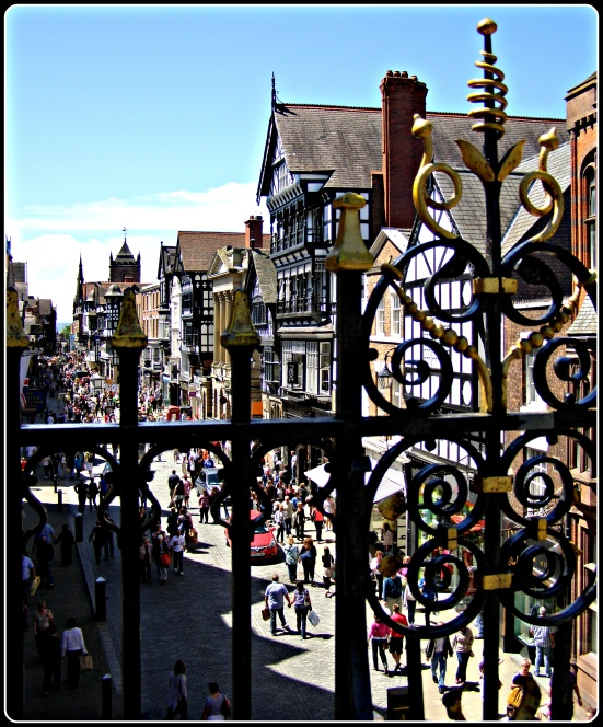 A view from under the Eastgate Clock, Chester