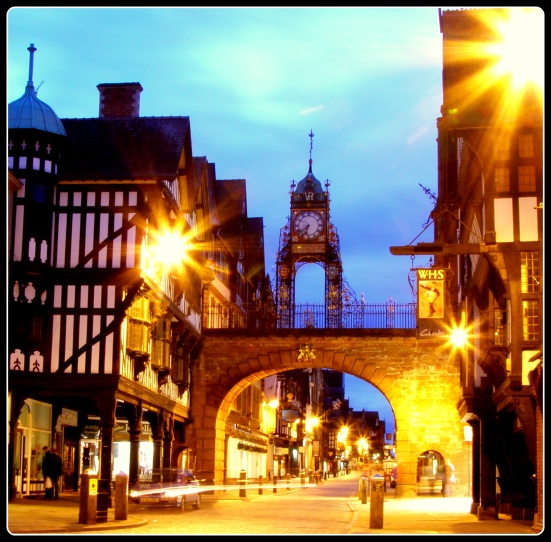 The Eastgate clock by night