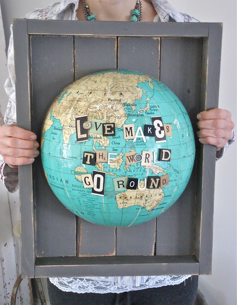 travel craft alert patina white s repurposed globe art