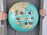 Travel Craft Alert! Patina White's Repurposed Globe Art