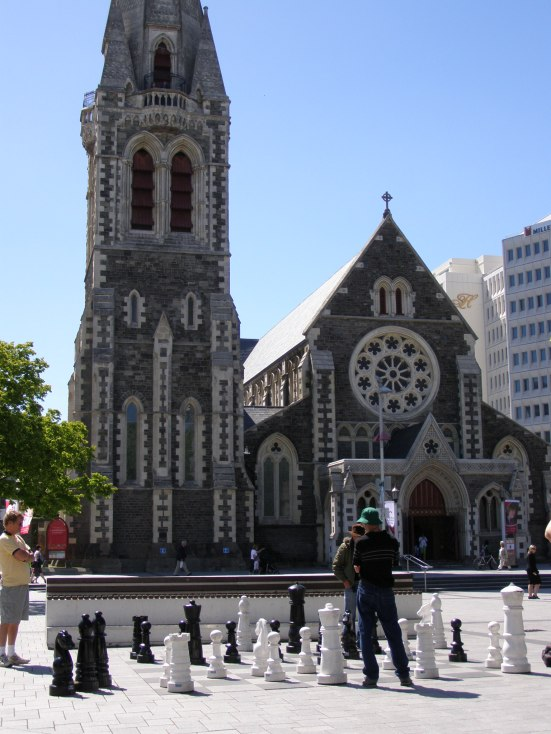 Chess in cathedral square, Christchurch Cathedral