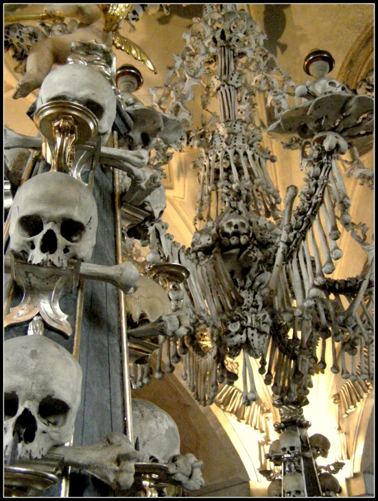 Chadelier at Sedlec Ossuary - Czech Republic