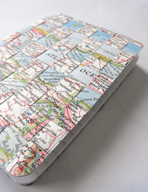 map covered notebook