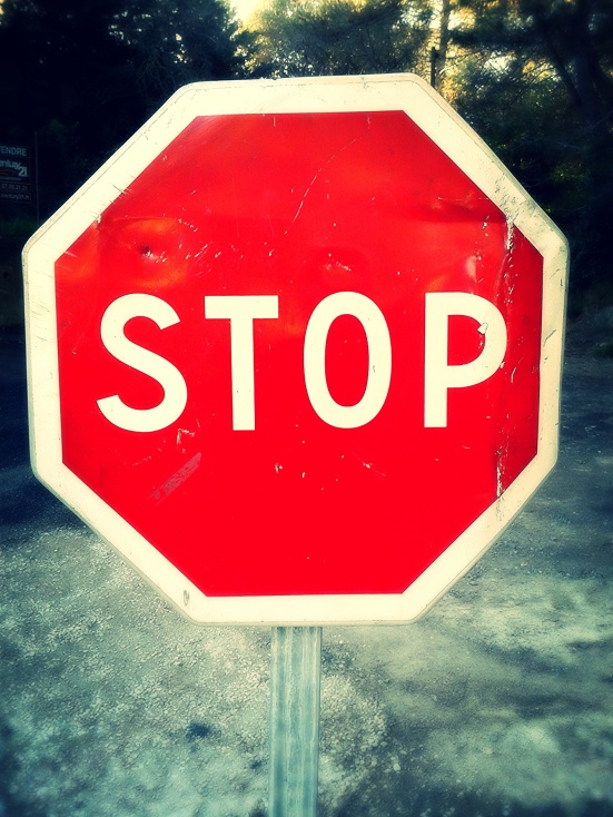 Stop sign in France